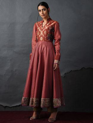 Orange Vintage Benarasi Silk Brocade Kalidar Kurta by Jaypore