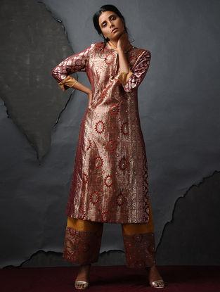 Orange-Mustard Vintage Benarasi Silk Brocade Kurta by Jaypore