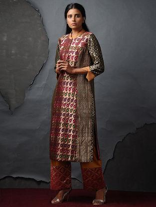 Maroon-Green Vintage Benarasi Silk Brocade Kurta by Jaypore