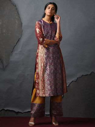 Purple-Orange Vintage Benarasi Silk Brocade Kurta by Jaypore