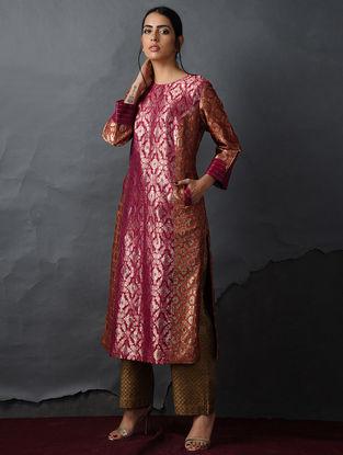 Pink-Orange Vintage Benarasi Silk Brocade Kurta with Pockets by Jaypore