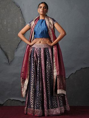 Blue-Pink Vintage Benarasi Silk Brocade Lehenga by Jaypore