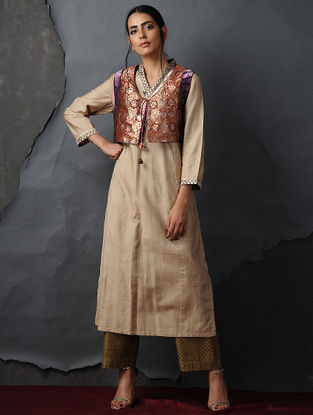 Orange Vintage Benarasi Silk Brocade Gilet by Jaypore