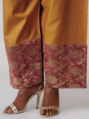 Mustard-Pink Tussar Silk Palazzo with Brocade Border by Jaypore