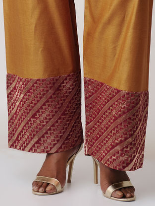 Mustard-Red Tussar Silk Palazzo with Brocade Border by Jaypore