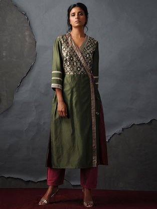 Green Vintage Benarasi Silk Brocade Angrakha by Jaypore