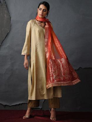 Beige Tussar Silk Kurta by Jaypore