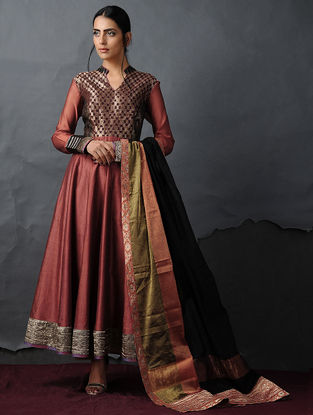 Rust Vintage Benarasi Silk Brocade Kalidar Kurta by Jaypore