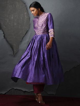Purple Vintage Benarasi Silk Brocade Kurta with Gathers by Jaypore