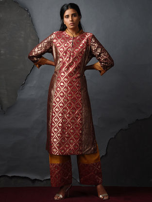 Red-Maroon Vintage Benarasi Silk Brocade Kurta by Jaypore