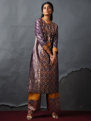 Purple Vintage Benarasi Silk Brocade Kurta by Jaypore