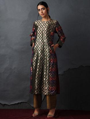Green Vintage Benarasi Silk Brocade Kurta with Pockets by Jaypore