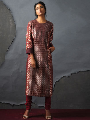 Maroon-Orange Vintage Benarasi Silk Brocade Kurta with Pockets by Jaypore