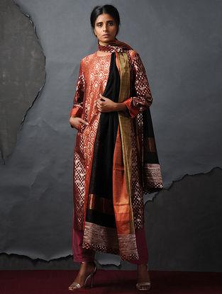 Orange-Maroon Vintage Benarasi Silk Brocade Kurta with Pockets by Jaypore