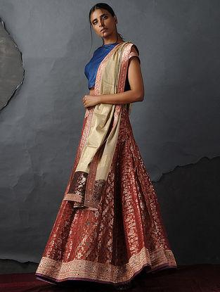 Orange Vintage Benarasi Silk Brocade Lehenga by Jaypore