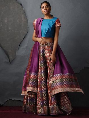 Orange-Purple Vintage Benarasi Silk Brocade Lehenga by Jaypore