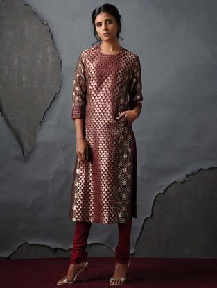 Maroon Vintage Benarasi Silk Brocade Kurta with Pockets by Jaypore