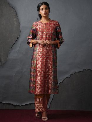 Orange Vintage Benarasi Silk Brocade Kurta by Jaypore