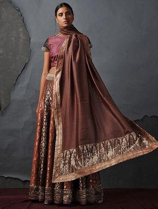 Brown Chanderi Dupatta with Silk Brocade Trim by Jaypore