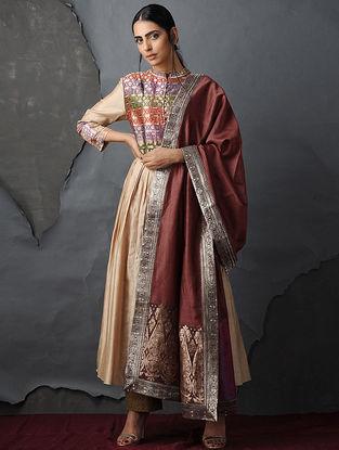 Rust Chanderi Dupatta with Silk Brocade Trim by Jaypore