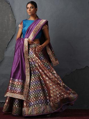 Purple Chanderi Dupatta with Silk Brocade Trim by Jaypore