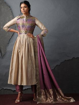 Pink Chanderi Dupatta with Silk Brocade Trim by Jaypore