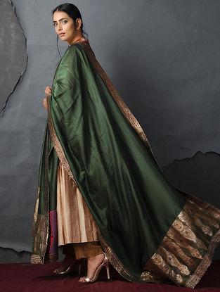 Green Chanderi Dupatta with Silk Brocade Trim by Jaypore