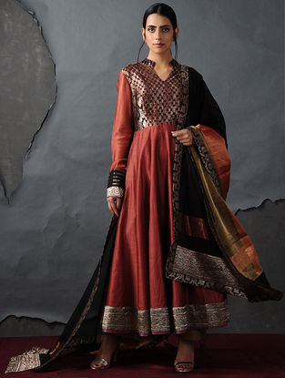 Black Chanderi Dupatta with Silk Brocade Trim by Jaypore