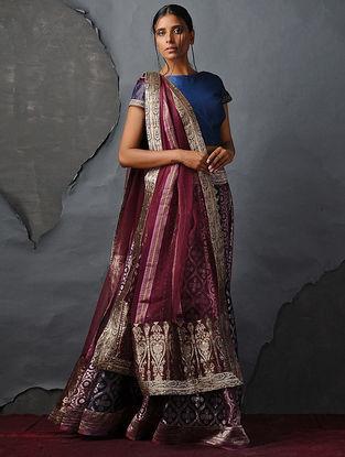 Maroon Chanderi Dupatta with Silk Brocade Trim by Jaypore