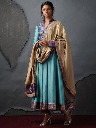 Beige Chanderi Dupatta with Silk Brocade Trim by Jaypore