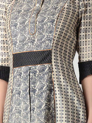 Beige-Black Printed Tussar Silk Kurta with Zari Top Stitch