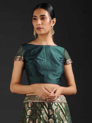 Green Silk Blouse with Brocade