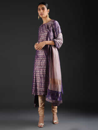 Purple Vintage Benarasi Silk Brocade Kurta with Pockets