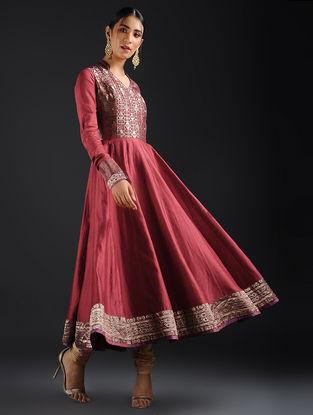 Maroon Vintage Benarasi Silk Brocade and Chanderi Kalidar Kurta
