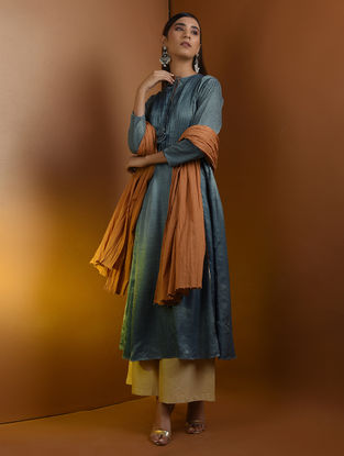 Blue Pleated Ajrakh Gajji Silk Kurta with Top Stitch and Lace Detail by Jaypore