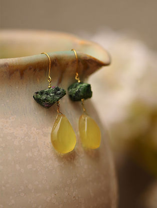 Ruby Zoisite and Citrine Gold Earrings