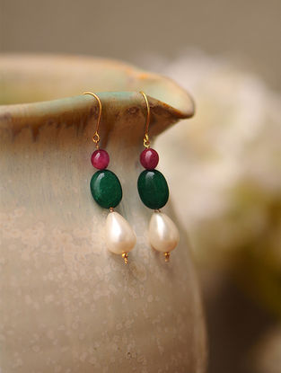 Red-Green Jade and Shell Pearl Gold Earrings