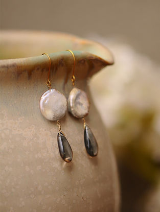 Freshwater Pearl and Smoky Quartz Gold Earrings