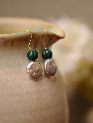 Fresh Water Pearl and Emerald Green Jade Gold Earrings