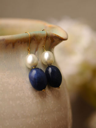 Sapphire Blue Kyanite and Shell Pearl Gold Earrings