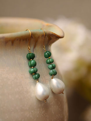 Green Jade and Shell Pearl Drop Gold Earrings