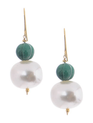 Jade and Shell Pearl Gold Earrings