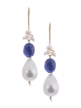 Kyanite and Shell Pearl Gold Earrings