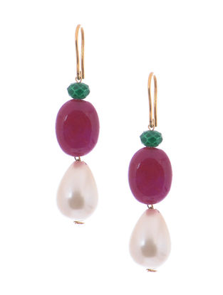 Green Onyx and Red Jade Gold Earrings