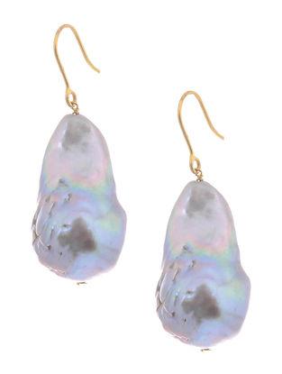 Grey Baroque Pearl Gold Earrings
