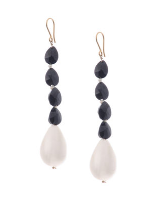 Black Onyx and Shell Pearl Gold Earrings