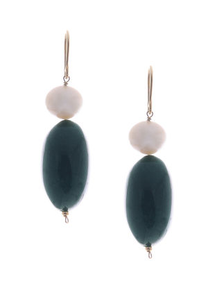 Green Jade and Freshwater Pearl Gold Earrings