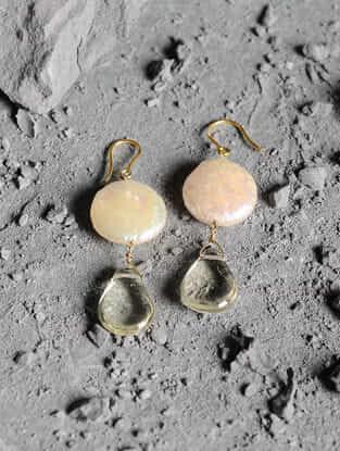 Lemon Topaz and Fresh Water Pearl Gold Earrings