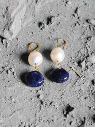 Sodalite and Pearl Gold Earrings