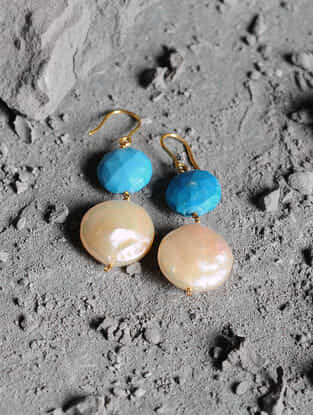 Turquoise and Fresh Water Pearl Gold Earrings